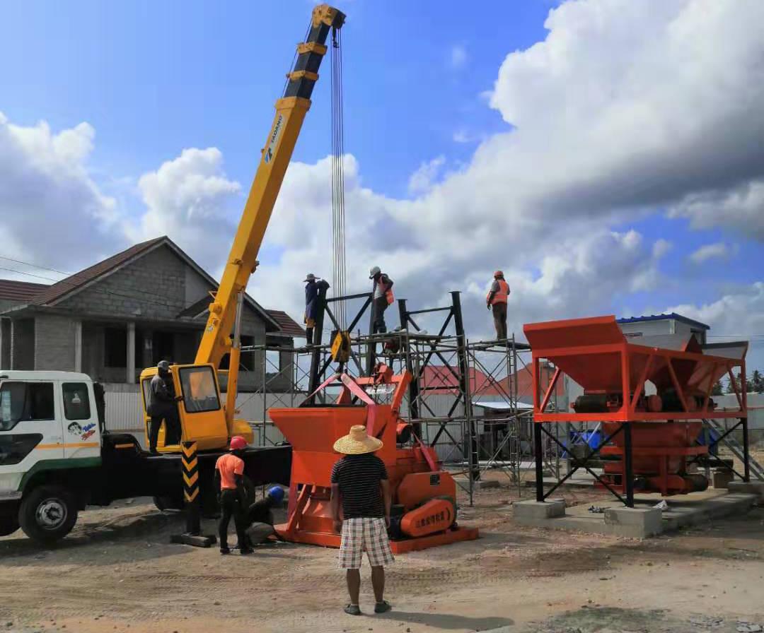长城建机HZS25混凝土搅拌站在塔桑尼亚